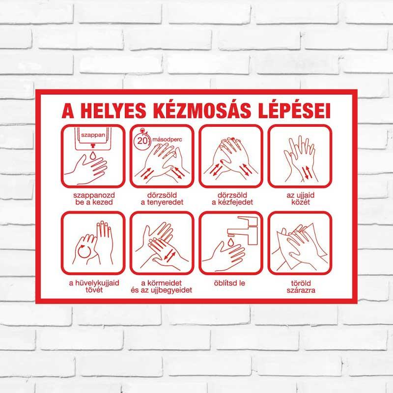 Koronavírus fertőtlenítő kézmosás tájékoztató matricák