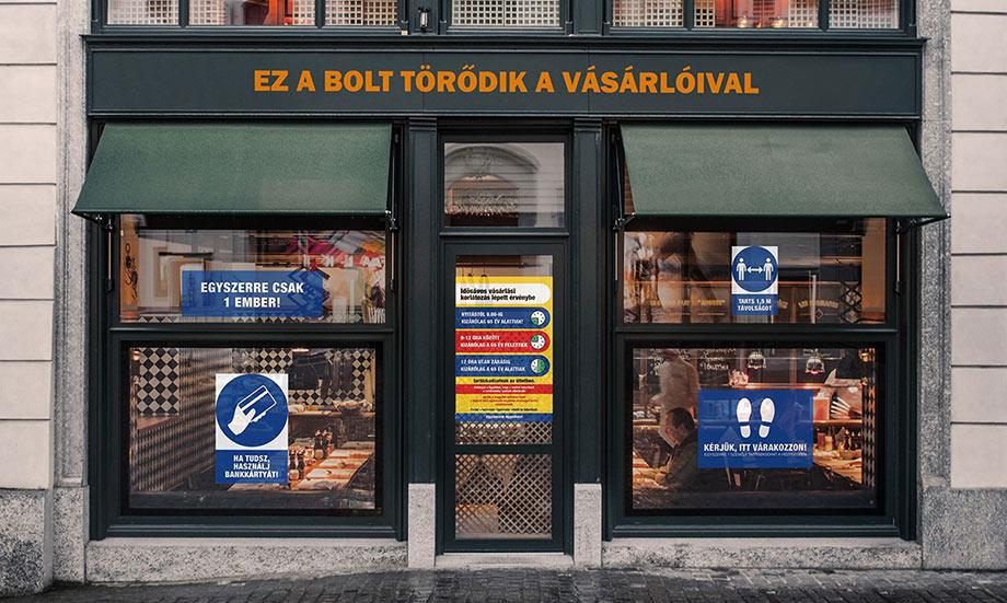 Magyarország koronavírus táblák matricák kirakat példa